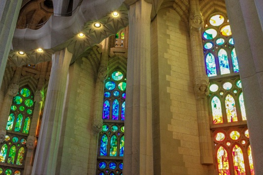 Windows inside the Basilica de la Sagrada Familia, Barcelona